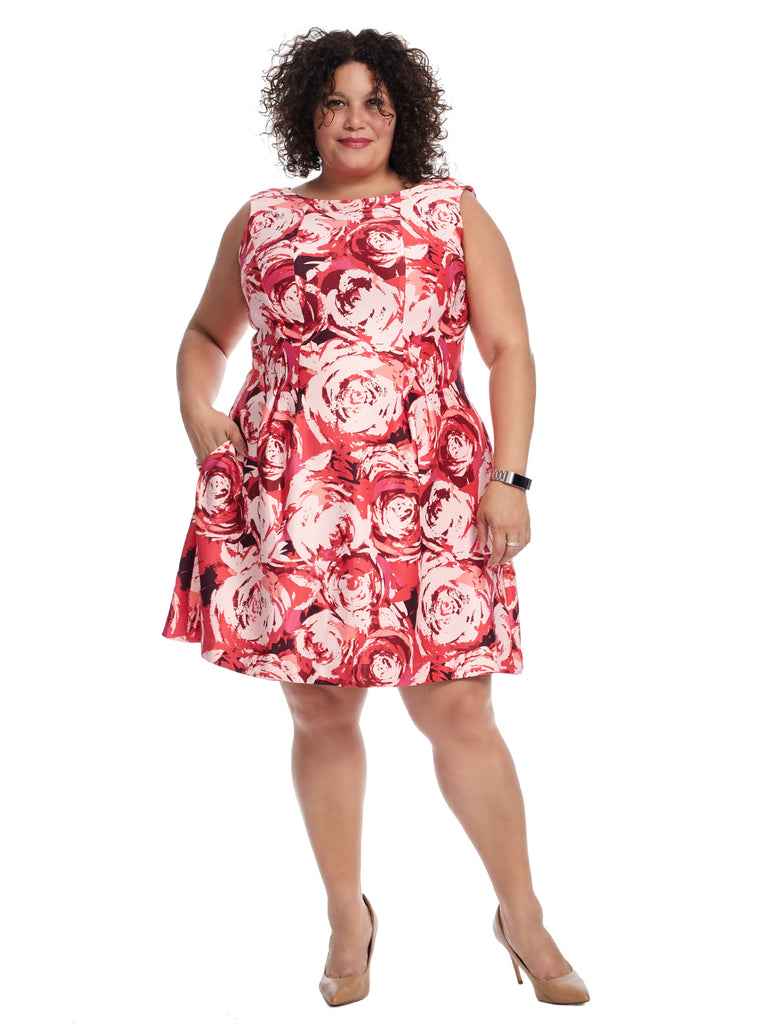 Cap Sleeve Fit And Flare Rose Print Dress