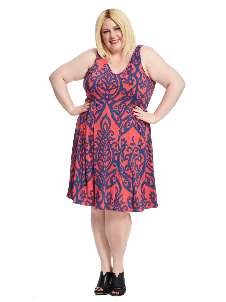 Sleeveless Jade Red And Navy Print Fit And Flare Dress