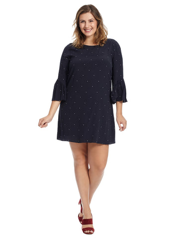 Three-Quarter Ruffle Sleeve Polka Dot Dress