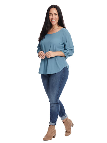 Scoop Neck Three Quarter Sleeve Blue Top