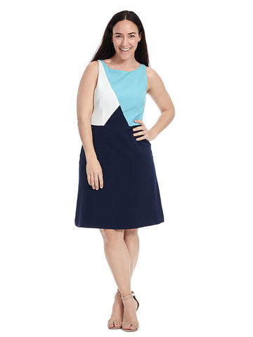 Colorblock Dress In Bluemoon