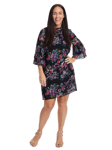 Tiered Sleeve Floral Shift Dress