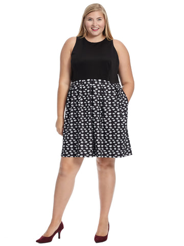 Kiss Kiss Print Twofer Fit And Flare Dress