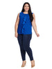 Drape Front Shell Top In Bold Blue