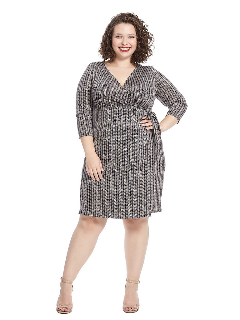 Wrap Dress In Navy And Taupe Multi Print