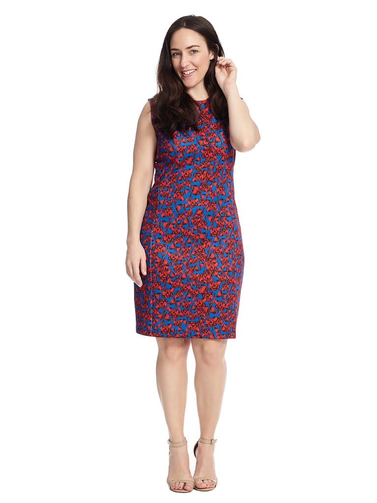 York Dress In Blue And Red Floral