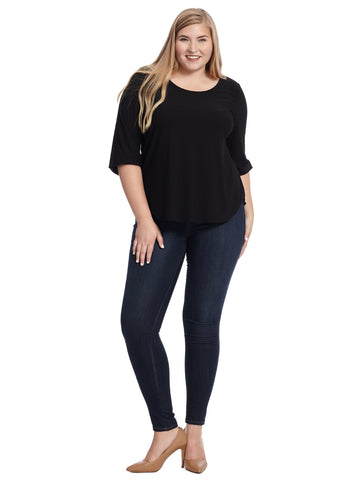 Scoop Neck Three Quarter Sleeve Black Top