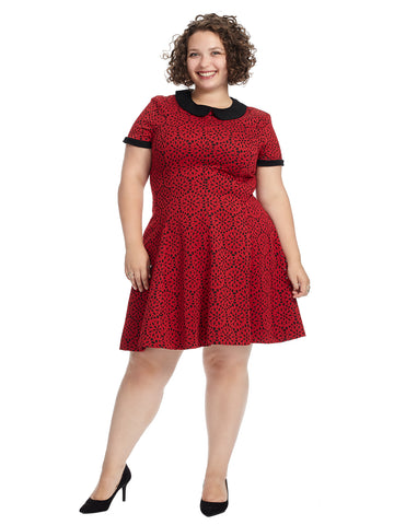 Medallion Cut Out Red Fit And Flare Dress
