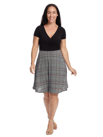 Black And Plaid Print Twofer Dress