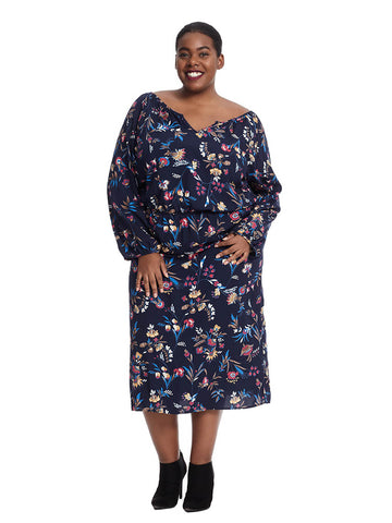 Long Sleeve Dress With Notch Neck Detail In Floral Print