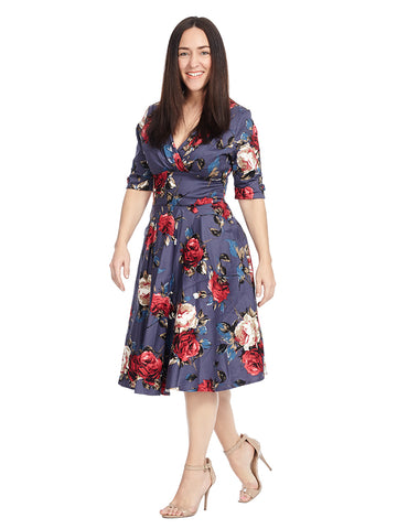 Delores Dress In Navy Floral Print