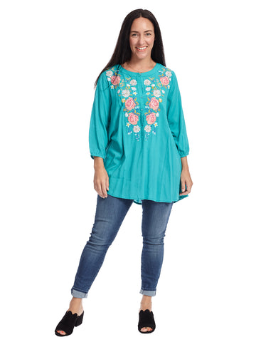 Three-Quarter Sleeve Floral Embroidered Teal Top