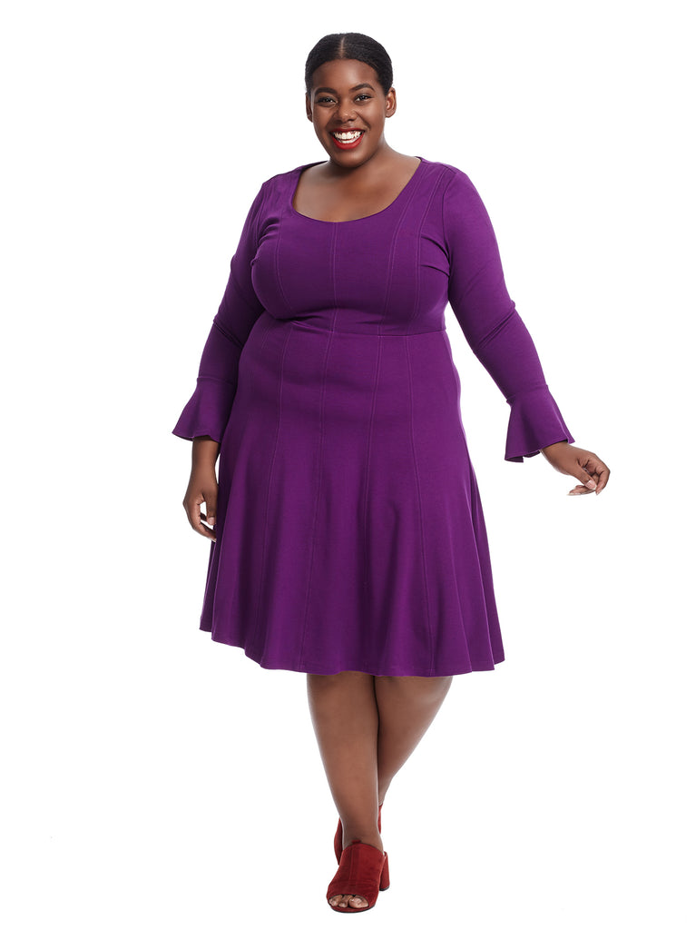 Seamed Purple Fit And Flare Dress