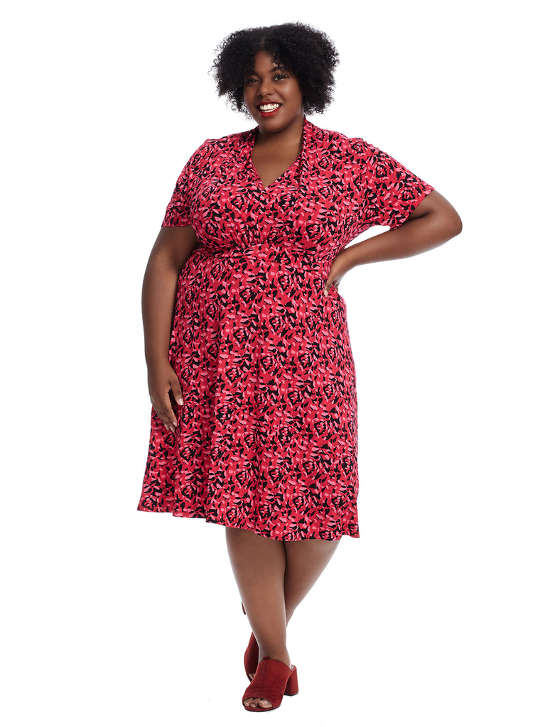 Short Sleeve Pink Scatter Print Fit And Flare Dress