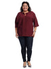 Pleat Front Maroon Top