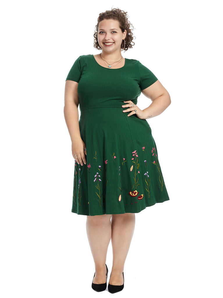 Green Floral Hem Fit And Flare Dress
