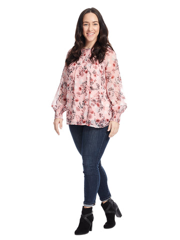 Long Sleeve Top With Stitch Details In Pink Prairie Print