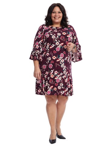 Bell Sleeve Drop Waist Dress