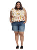 Tropical Peach Flutter Sleeve Top