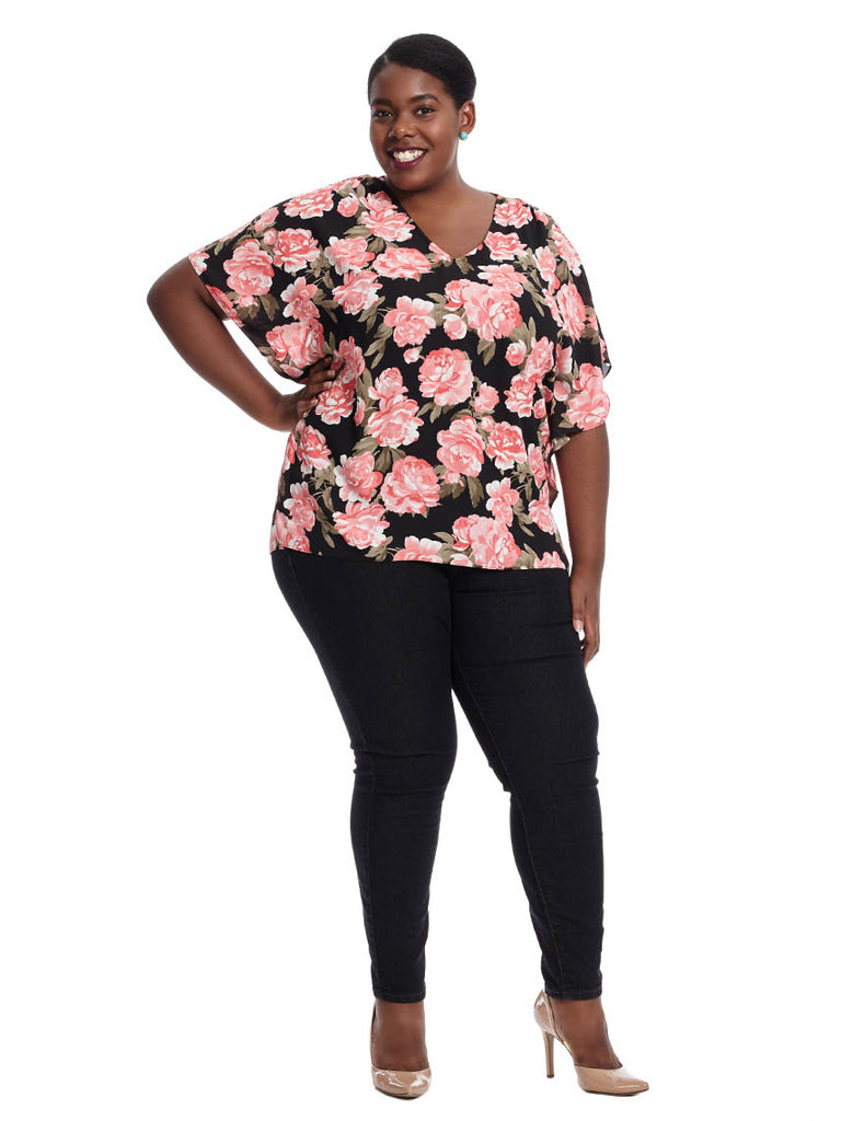 Peony Print Butterfly Sleeve Top