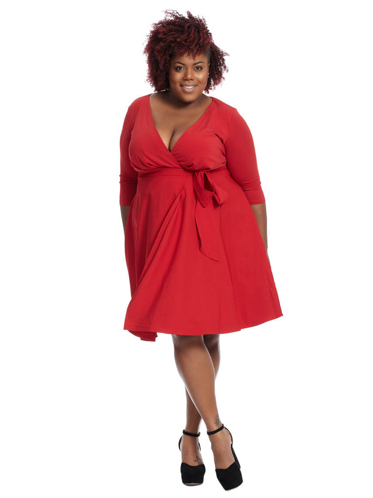 Wrap Dress In Scarlet Red