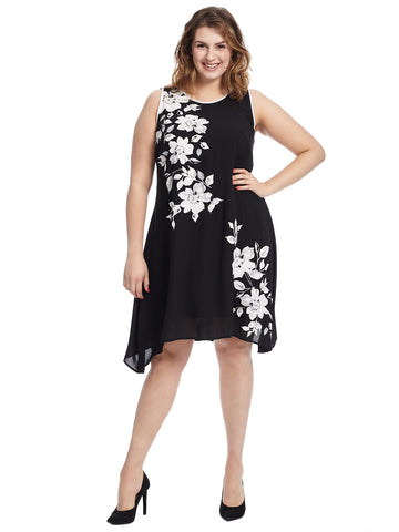 White And Black Floral Swing Dress