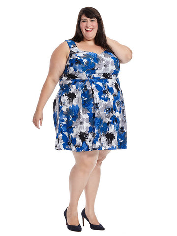 Sweetheart Dress In Royal/Grey Floral Print