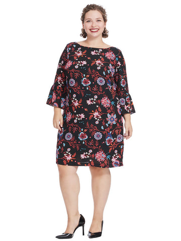 Shift Dress In Colorful Floral