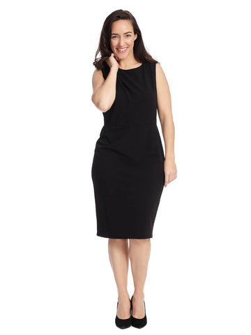 Black Sheath Dress With Neckline Detail
