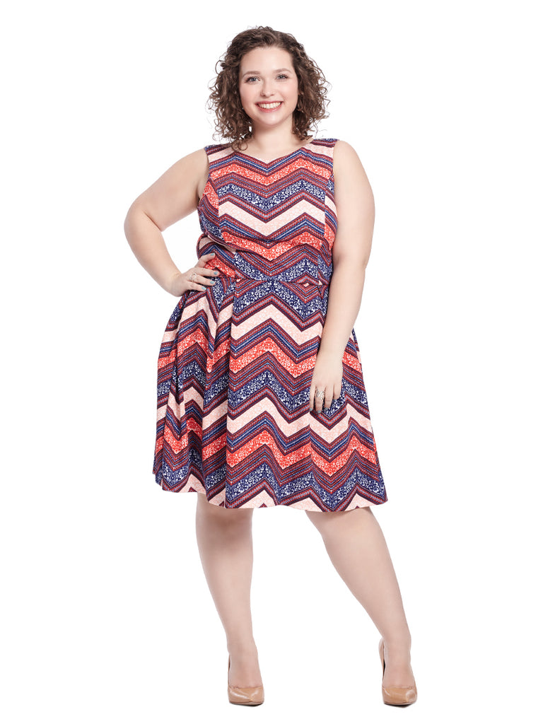 Tiffany Dress in Chevron Multi Print