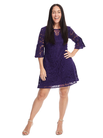 Bell Sleeve Scalloped Lace Dress