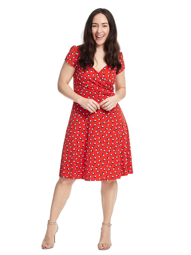 Sweetheart Dress In Martini Dot Red