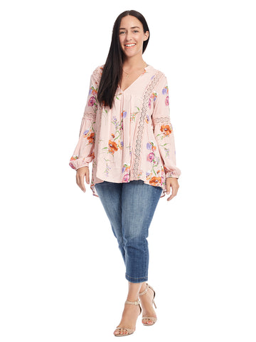 Lace Pink Floral Print Tunic Top