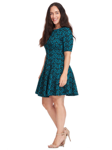 Floral Jacquard Dress In Teal