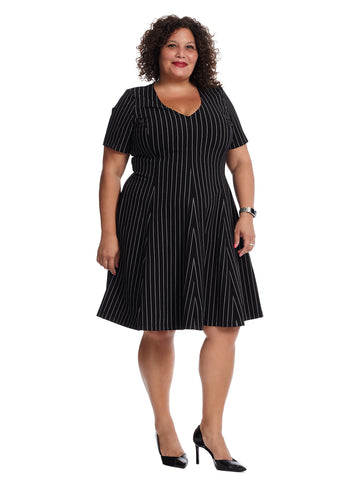 Black Stripe Fit And Flare Dress