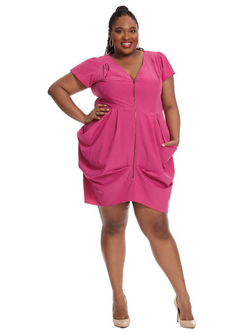 Zip Front Tunic In Fuchsia