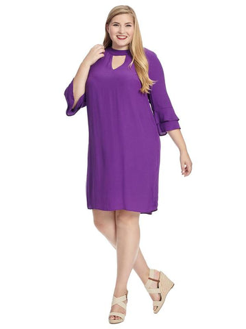 Ruffle Sleeve Purple Shift Dress
