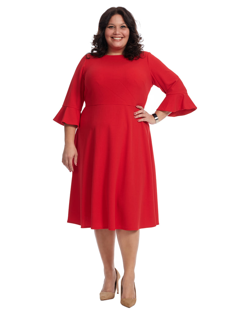 Three-Quarter Sleeve Red Fit And Flare Dress