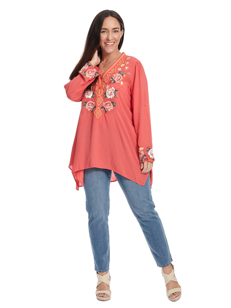 Roll Up Sleeve Coral Embroidered Top