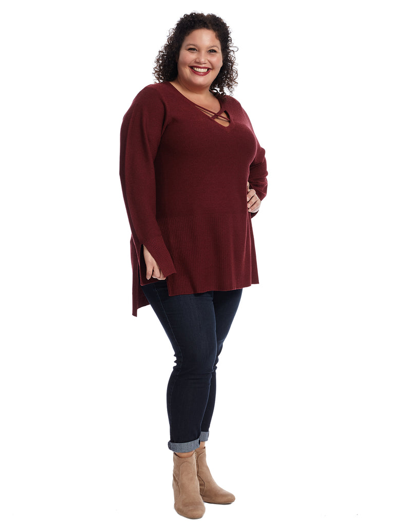 Criss Cross Neck Ruby Sweater