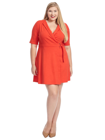 Elbow-Length Sleeve True Wrap Red Dress