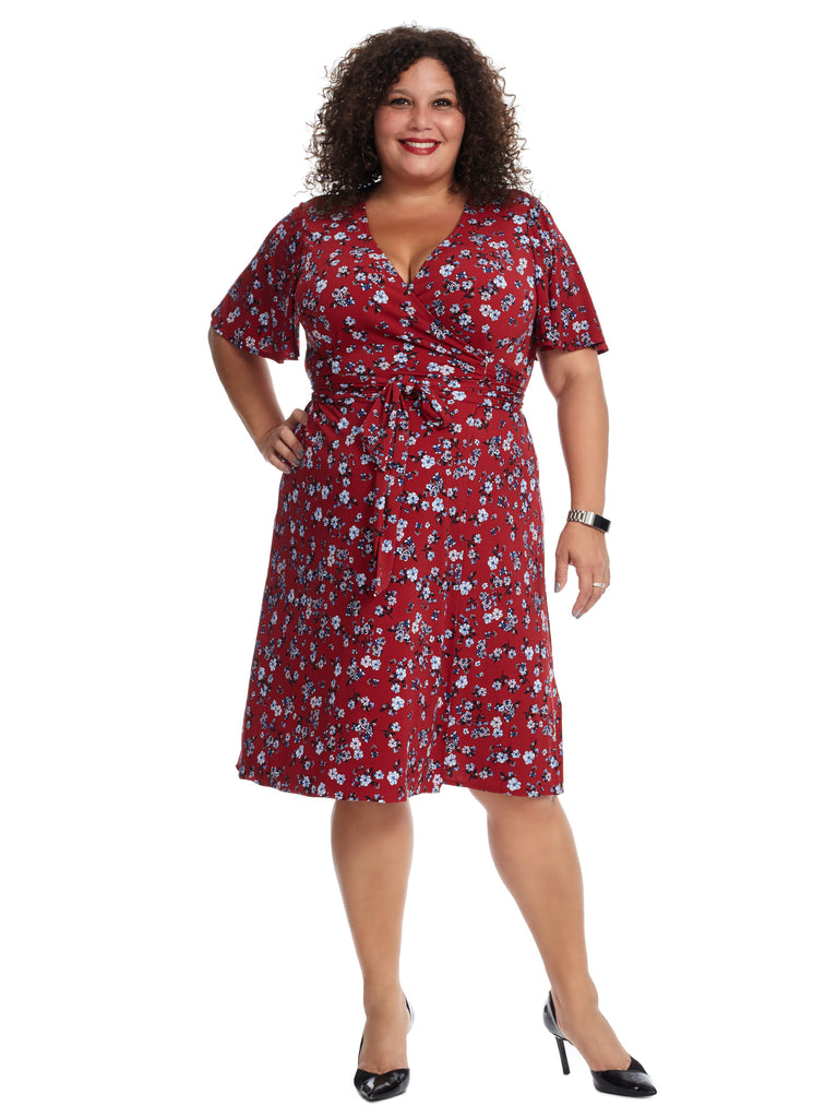 Red Floral Printed Flutter Sleeve Faux Wrap Dress
