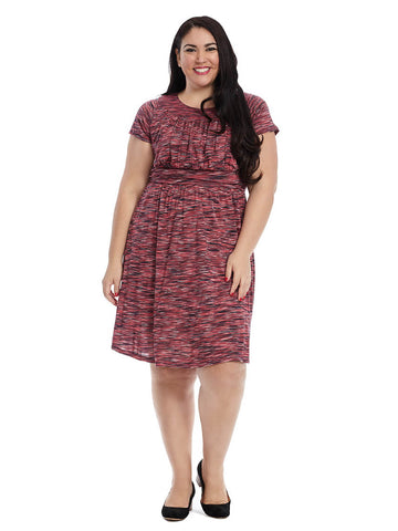 Short Sleeve Dress In Pink Multi Print