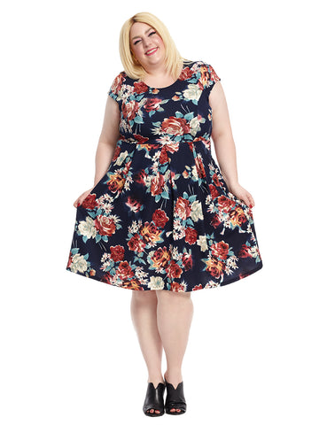 Cap Sleeve Fit And Flare In Navy Floral Print