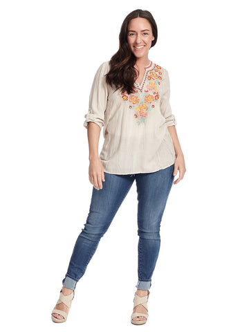 Notch Neck Embroidered Taupe Top