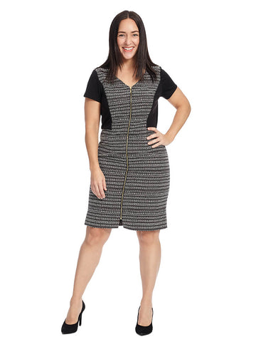 Zip Up Dress In Striped Tweed