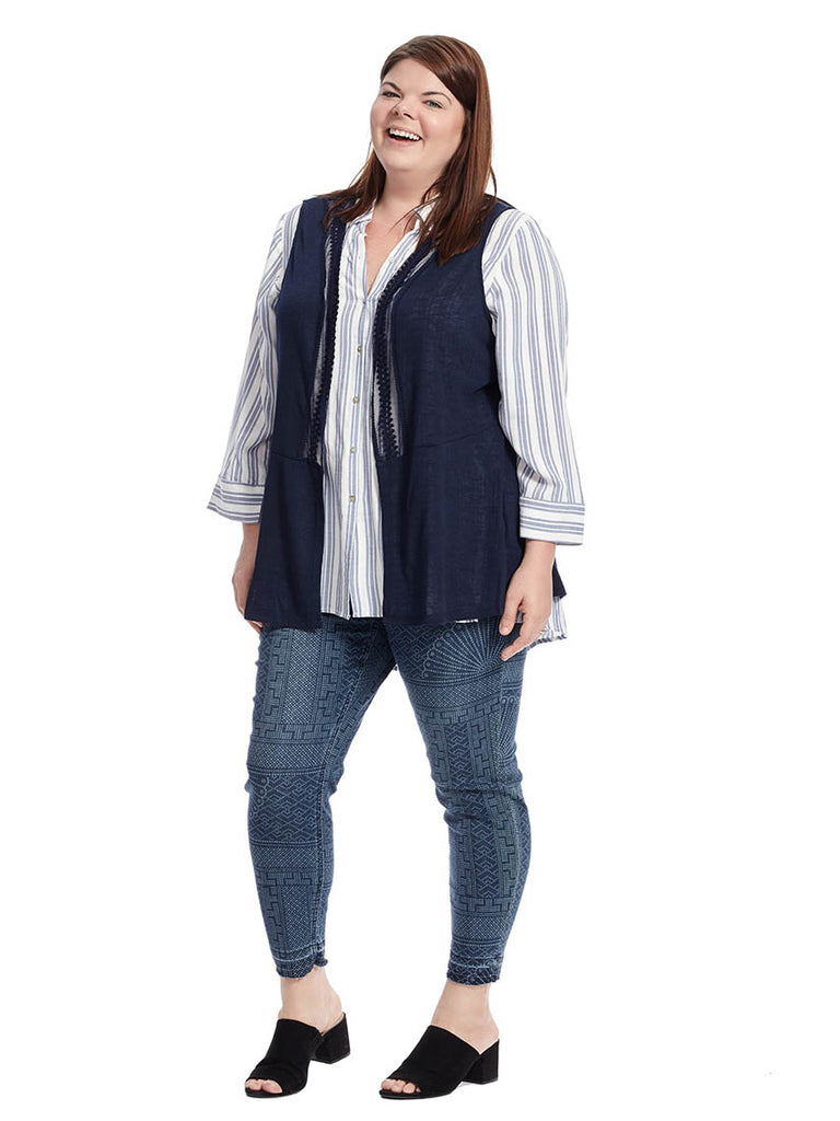 Sheer Sleeveless Cardigan In Navy