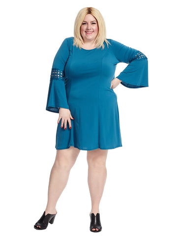Bell Sleeve Shift Dress In Empress Teal