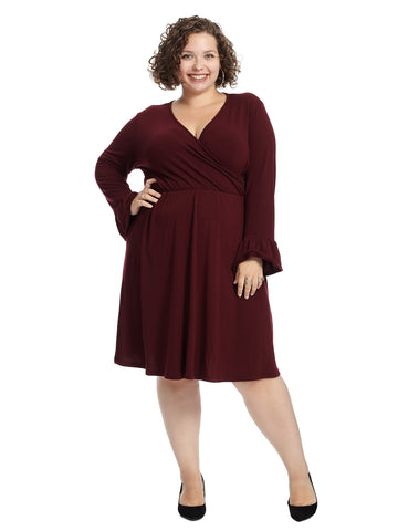 Sleeve Detail Burgundy Faux Wrap Dress