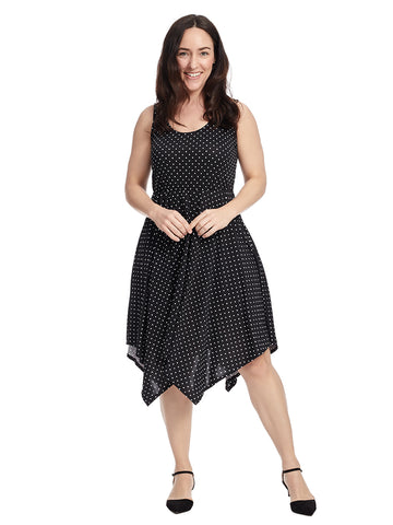 Sleeveless Hanky Hem Black Polka Dot Dress